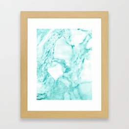 Teal Mermaid Glitter Marble Framed Art Print