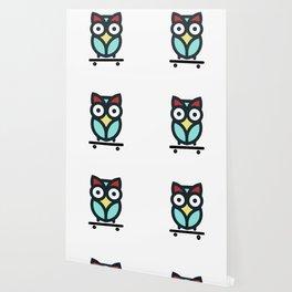 Owl Skateboarding Skateboarder Nocturnal Birds Night Hunter Animals Wildlife Wilderness Gift Wallpaper