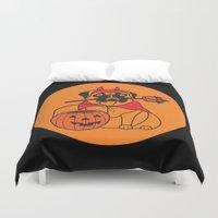 pumpkin Duvet Covers featuring pumpkin pug by Gray
