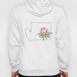 washington // watercolor rhododendron state flower map Hoody