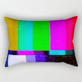 A distorted tv transmission or VHS tape, a badly eaten noisy signal of SMPTE color bars (a television screen test pattern). Vintage photo. Retro background. Rectangular Pillow