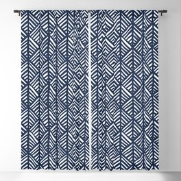 Abstract Leaf Pattern in Blue Blackout Curtain