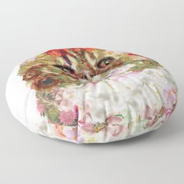 Portrait of a Persian cat, illustrated by hand painted flowers.DISCOVER Floor Pillow