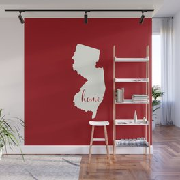 New Jersey is Home - White on Red Wall Mural