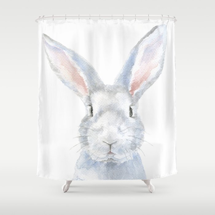 Gray Bunny Rabbit Watercolor Painting Shower Curtain By Susanwindsor
