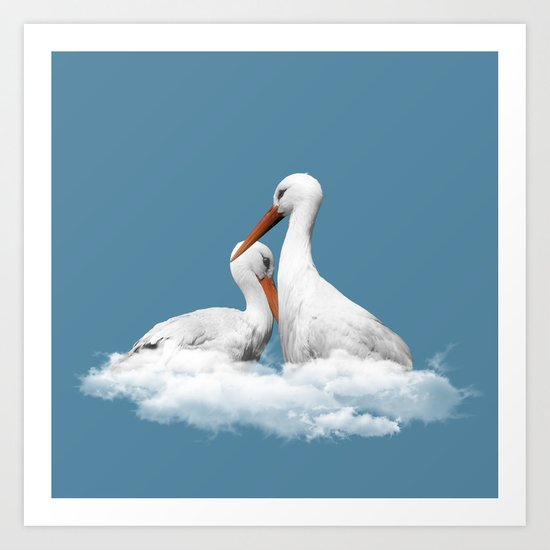 STORKS ON CLOUDS (animals love) Art Print
