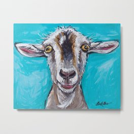Goat Art, Colorful Farm Animal Metal Print