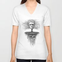 edgar allen poe V-neck T-shirts featuring Edgar Allan Poe, Poe Tree by Newmanart7 -- JT and Nancy Newman, Art a