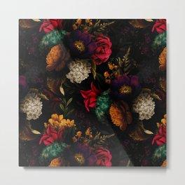 Midnight Hours Dark Vintage Flowers Garden Metal Print