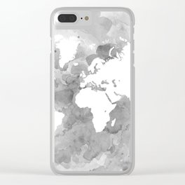 Design 49 Grayscale World Map Clear iPhone Case