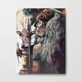 Mononoke San and The Spirit of the Wolf Metal Print