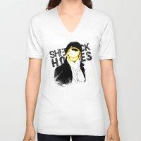 sherlock V-neck T-shirts featuring SHERLOCK by Hyannah