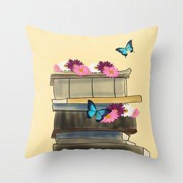 Books and Butterflies - An Introverts Dream Throw Pillow