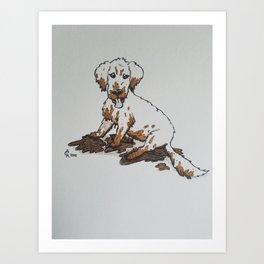 Muddy Puppy, Ruiner of Furniture Art Print