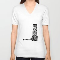 cheetah V-neck T-shirts featuring Cheetah by Helena's universe