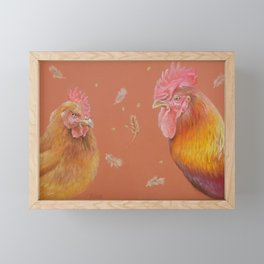 ROOSTER and HEN Farm animals Domestic birds illustration Framed Mini Art Print