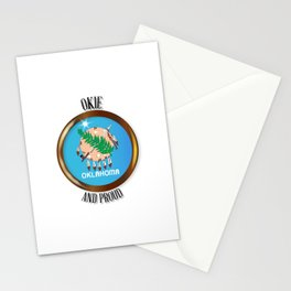 Oklahoma Proud Flag Button Stationery Cards
