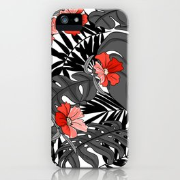 Tropical Flower Pattern - Black and White iPhone Case