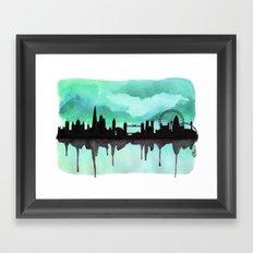Mint Green London Skyline 2 Framed Art Print