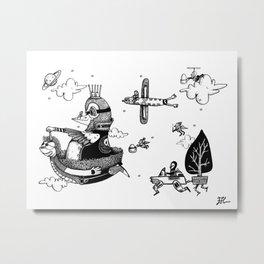 The world of the bird with crown / El mundo del pájaro con corona Metal Print