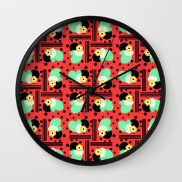 Fruity floral with dots and stripes Wall Clock