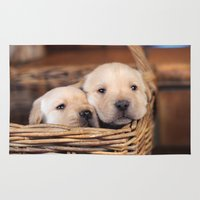 puppies Area & Throw Rugs featuring Puppies Labrador Retriever by BALEARIC MEDIA GROUP