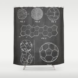 Soccer Ball Patent - Football Art - Black Chalkboard Shower Curtain