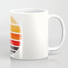 Orange Mid Century Modern Minimalist Circle Round Photo Staggered Sunset Geometric Stripe Design Coffee Mug