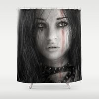 warrior Shower Curtains featuring Warrior by Justin Gedak