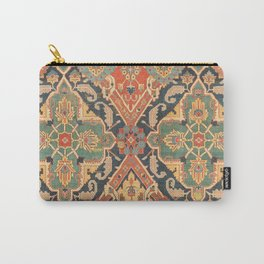 Geometric Leaves VIII // 18th Century Distressed Red Blue Green Colorful Ornate Accent Rug Pattern Carry-All Pouch