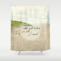 salt water Shower Curtains featuring sunshine and salt water by Sylvia Cook Photography