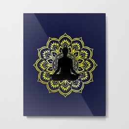 Golden Mandala Meditation Metal Print