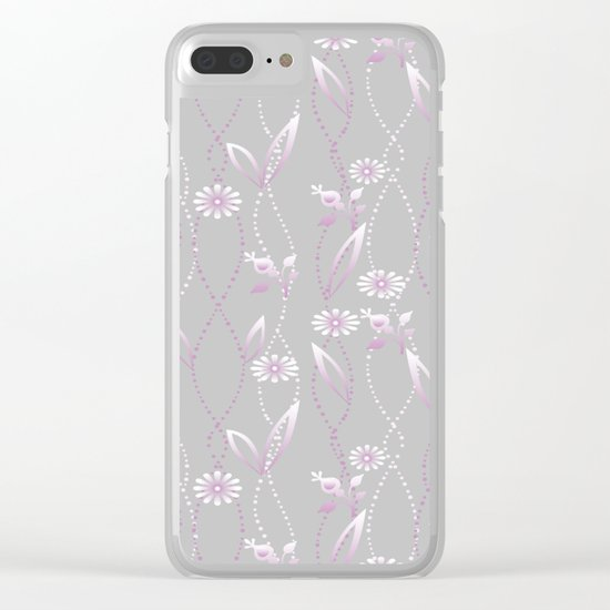 Gray lilac floral pattern . Clear iPhone Case