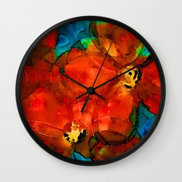 Garden Spirits - Vibrant Red Poppies Flowers By Sharon Cummings Wall Clock