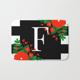 F - Monogram Black and White with Red Flowers Bath Mat