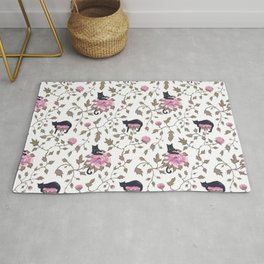 Black cats and paeony flowers Rug