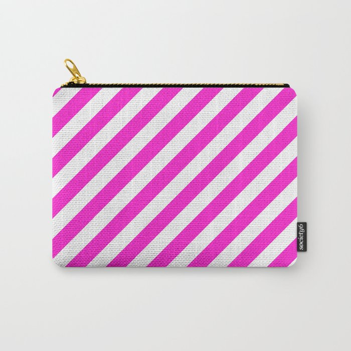 Diagonal Stripes (Hot Magenta/White) Carry-All Pouch