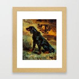 """Henri de Toulouse-Lautrec """"Dun, a Gordon Setter Belonging to Comte Alphonse de Toulouse Lautrec"""" Framed Art Print"""