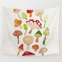 mushrooms Wall Tapestries featuring Mushrooms by Cat Coquillette