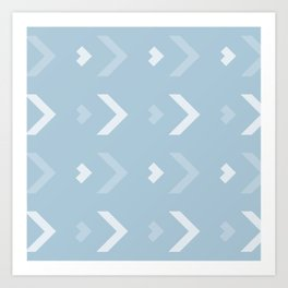 Chevron Blue Pattern Art Print