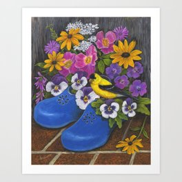 Goldfinch and Blue Garden Clogs Art Print