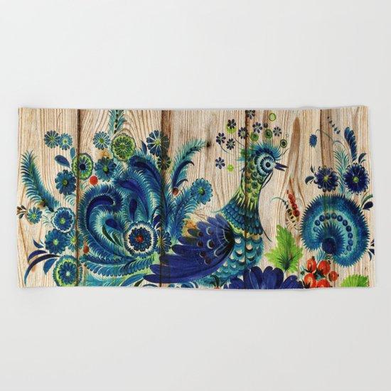 Russian Folk Art on Wood 02 Beach Towel