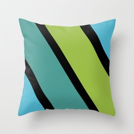 Diagonal Lines_Blue and Green Throw Pillow