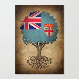 Vintage Tree of Life with Flag of Fiji Canvas Print