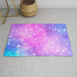 White constellation universe pattern zodiac on purple blue nebula space watercolor Rug