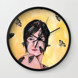 Attraction/Repulsion {Moths} Wall Clock