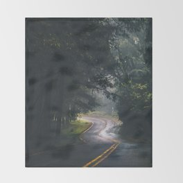 GREY - CONCRETE - ROAD - DAYLIGHT - JUNGLE - NATURE - PHOTOGRAPHY Throw Blanket