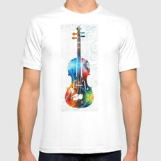 Colorful Violin Art by Sharon Cummings White MEDIUM Mens Fitted Tee