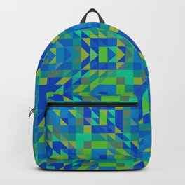 WICKED bright green and royal blue symmetrical geometric design Backpack