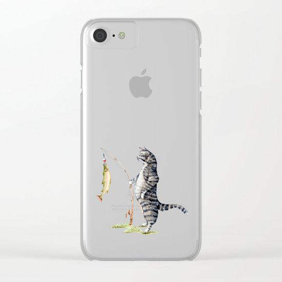 Cat with a Fish Clear iPhone Case